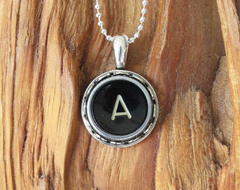 The Letter A Vintage typewriter key necklace pendant