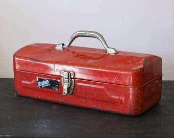 Vintage Very Red Metal Tool box