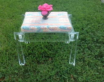 "LARGE LUCITE BENCH on Casters / Lucite Stool / 1"" Thick Lucite Bench / 2 Foot Long Retro Lucite Stool Funky Lucite Bench at Retro Daisy Girl"