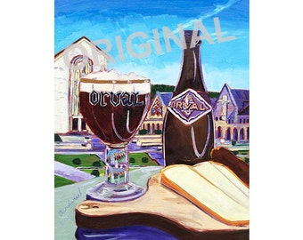 Orval Trappist Ale, Belgian Beer Art, Monastery Beer Painting, Food Painting, Abbey, Dining Room Painting, Kitchen Wall Art, Gift for Him