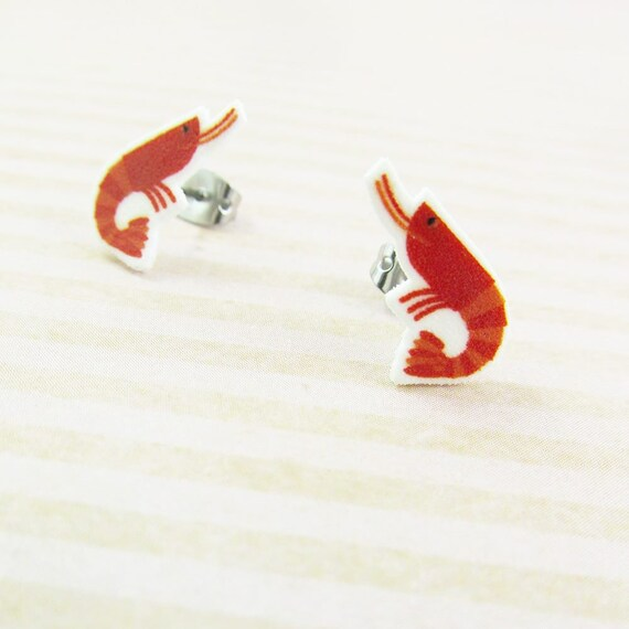 shrimp, red shrimp, earrings, seafood, red, print on plastic, shrink plastic earring, stainless stud, handmade, les perles rares