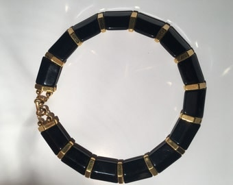 Napier Choker Necklace Black Gold Tone 1980s