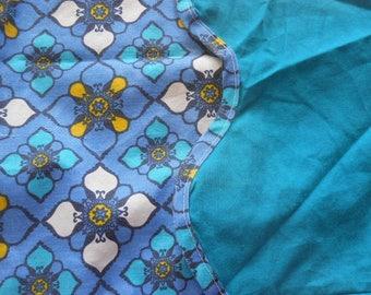 Vintage Pillowcase, blue flower patten, cotton blend, retro bed, piped edges, handmade