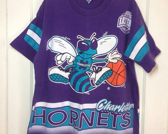 Vintage 1990's Charlotte Hornets NBA basketball team all cotton Salem t-shirt size Large Eastern Conference oversized full all over print