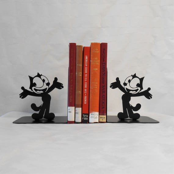 Felix the Cat Metal Art Bookends, Movie Storage, Books, Organizer