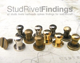 SAVE Price 20sets 8mm Ball Head, mini Button Studs Stand Leather Screwback for DIY Craft / GRADE B