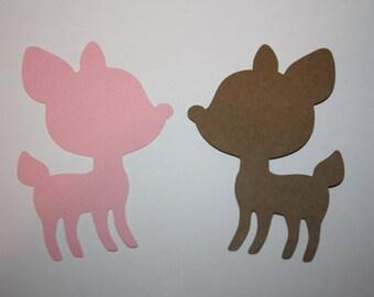 18 x Deer Die Cuts - Pink and Brown
