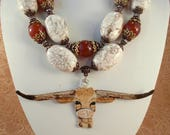 RESERVED LISTING Western Statement Necklace Set - Chunky White Howlite Nuggets and Carnelian  - Hand Painted Texas Longhorn - BEVO