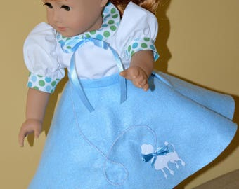 18 Inch Doll Clothes Short Sleeve White Blouse With Cuff and Collar Trim and 1950s Felt Circular Poodle Skirt by SEWSWEETDAISY
