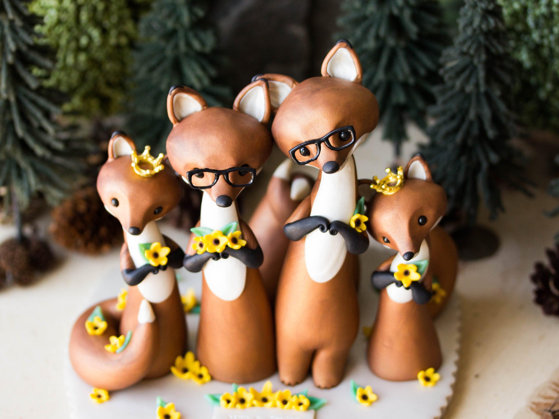 Red Fox Family Wedding Cake Topper