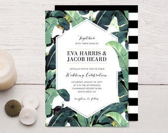 Tropical Plantation Banana Leaf Wedding Invitations