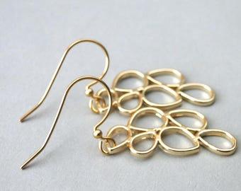 Earrings / Holiday Gift / Women's Gold Earrings / Accessories / Jewelry / Gold Tear Drop Earrings / Dangle Earrings / Graduation Gift