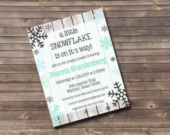 snowflake baby shower invitation