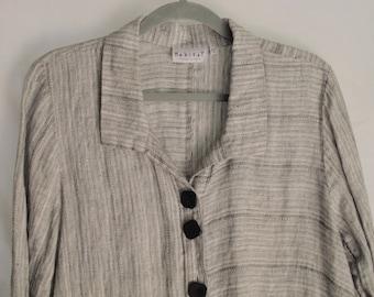 Habitat Linen Top Black & White Loose Fit Artist Smock Tunic Top Size Medium Heathered Grey Tones