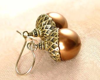 Copper Brown Acorn Earrings Swarovski Crystal Pearl Earrings Antique Gold Earrings Brown Pearl Dangle Earrings Acorn Drop Earrings