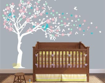Cherry blossom Wall decal ,  fabric re usable  Wall decal for nursery , large Tree wall decal , Cherry Wall decal , Nursery Wall stickers