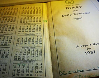 Vintage Diary-Journal Daily Planner-Appointment Book-Handwritten 1937 Ephemera-Daily Reminder Man's Diary-Collectible Original Old Paper