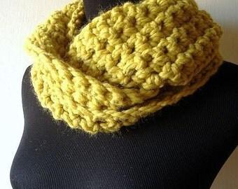 Cowl Neckwarmer Infinity Scarf Wrap in Citrine Yellow