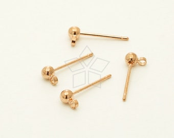 EA-211-RG / 20 Pcs - 3mm Ball Earring Posts, Ball Ear Post Findings, Blank Ear Studs. Rose Gold Plated over Brass / 3mm