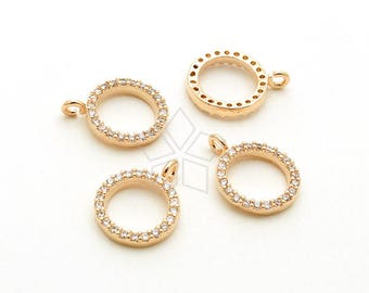 PD-1933-RG / 2 Pcs - Dainty CZ Bezel Pendant, Halo Cubic Zirconia Open Circle Charms, Rose Gold Plated over Brass / 8mm