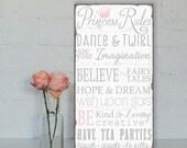 Custom listing for amylynn0425 Princess Rules Wall Art - Typography Word Art on Wood Nursery or Playroom Sign