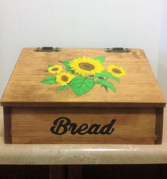 Bread Box, Wooden Bread Box, Kitchen Bread Box, Sunflower Decor, Farmhouse Decor, Sunflower Kitchen Decor, Sunflower Kitchen, Country Decor