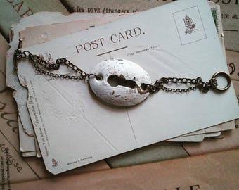 Vintage Keyhole Bracelet, Bracelet Made From a Vintage Lock Plate, Upcycled Jewelry, Steampunk, Hardware Bracelet, Escutcheon Plate