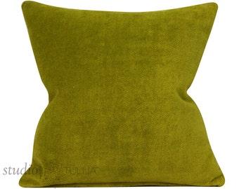Vintage Velvet Pillow Cover - 17 1/2 x 17 1/2 inch - Green - mid century - cotton velvet - ready to ship
