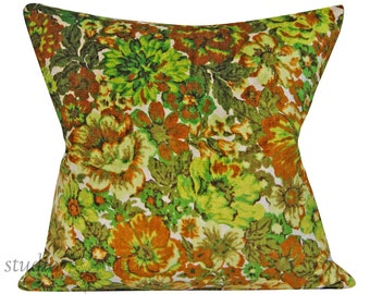 Vintage Velvet Pillow Cover - 20 inch - Floral - botanical - mid century - green floral - ready to ship