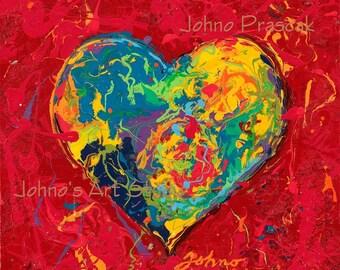 Heart painting, print, Heart art, Modern wall art, Lovers art,Sweetheart wall art, Art for Lovers,  Johno Prascak, Johnos Art Studio