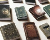 Twelve witch books, dollhouse size, miniature, Wicca, magic, herbs, runes, witchcraft, and more!