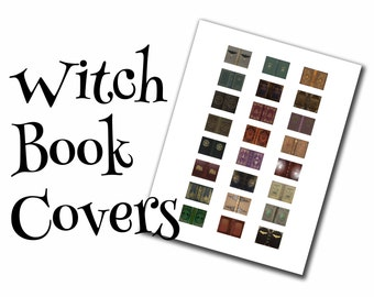 Witch dollhouse book covers, 1:12, PDF digital file, three sizes, 24 styles, 72 book covers!