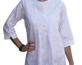 Ayurvastram Pure Cotton Hand Embroidered Women's Tunic Top Kurti