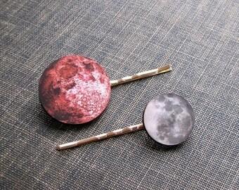 SALE full moon hair clip set - 2 hair pins . blue & pink moon hairpin jewelry . bohemian hair accessories