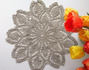 Linen doily - crochet lace doily - home decor - linen tablecloth - crochet linen - crochet doily - table centerpiece ~43 cm /17 inches/