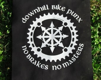 Downhill Bike Punx - No break No masters ~ backpatch and free patch (30 different designs available)
