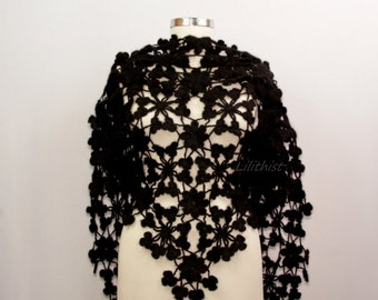 Black Shawl Wrap, Flower Shawl, Crochet Lace Shawl, Mohair Crochet Shawl, Crochet Wrap, Wedding Shawl, Evening Shawl Women Accessories
