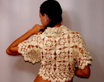 Ivory Wedding Shrug Bridal Bolero, Lace Shrug, Crochet Shrug, Lace Bolero, Lace Bridal Bolero Jacket, Bridesmaid Bridal Cover Up S-M-L