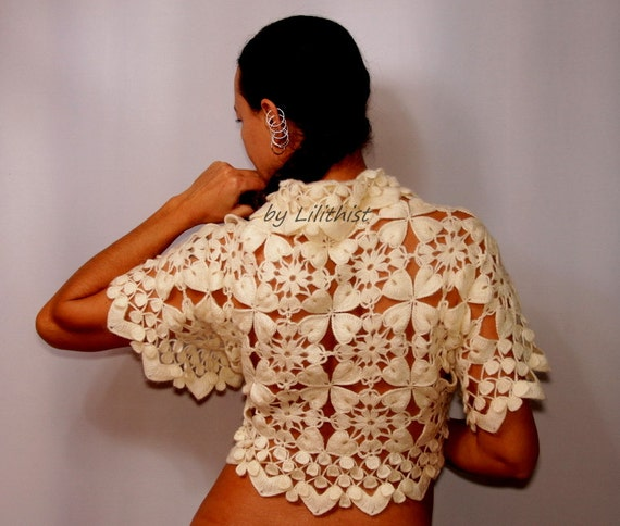Ivory Wedding Shrug Bridal Bolero, Lace Shrug, Crochet Shrug, Lace Bolero, Lace Bridal Bolero Jacket, Bridesmaid Bridal Cover Up S-M-L