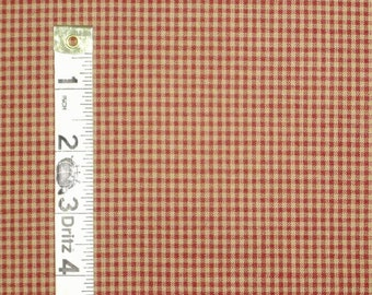 1 yard of Barn Red Tiny Check Homespun Fabric - Primitive - Sewing Fabric