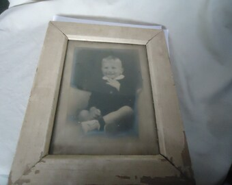 Vintage Picture Or Photo Of Young Boy In Wood Frame, collectable