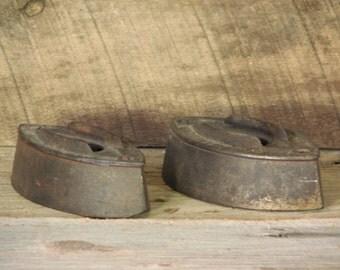Vintage Sad Iron Set Antique Clothes Iron Door Stop Paper Weight Rustic Home Decor Set of 2