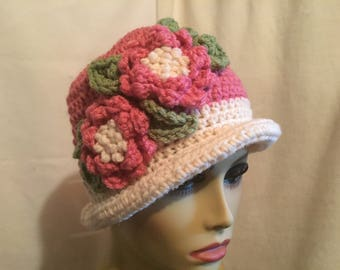 Lovely Lady Flowered Hat.....Pink and Ivory Crocheted Delight with Cabbage Roses
