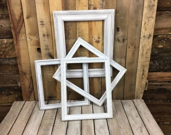 ON SALE - White Picture Frame Set of 4 , Rustic Hand Painted Set, Picture Frame Set, 3- 11x14, 1- 12x12, Gallery Set, Lot 14