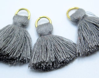 Small Cotton Jewelry Tassels with Matching Binding and Gold Plated Jump Ring - Gray Tassels - 3 pcs - Approx 25mm - TSL50