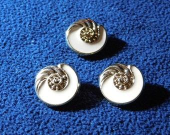 "Vintage Gold/Ivory Swirl Shell 1"" Shank Buttons --  3 pcs   (B519)"