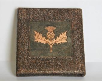 Vintage cigarette case. Scottish thistle case. Wooden case