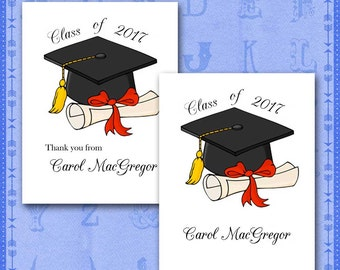 Graduation Thank You Note Cards, Personalized with Name, Class of 2017, Cap and Diploma/Set of Ten/Blank Inside/Party Invitation/Mortarboard