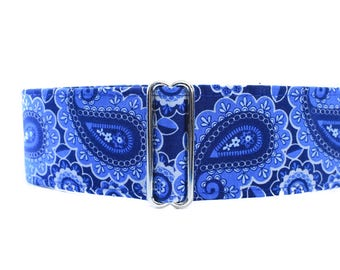 1.5 Inch Martingale Collar, Paisley Martingale Collar, Blue Martingale Collar, Blue Paisley Dog Collar, Dog Collars for Boys
