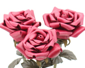Leather rose bouquet raspberry third Anniversary wedding gift Long Stem leather Flower Valentine's Day 3rd Leather Anniversary Mother's Day
